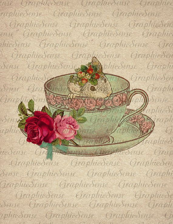 Sweet Little Mouse in Teacup - Dormouse - Teaparty Five o'clock - Printable Graphics Digital Collage Sheet Image Download Transfer An95 on Etsy, $1.09 CAD