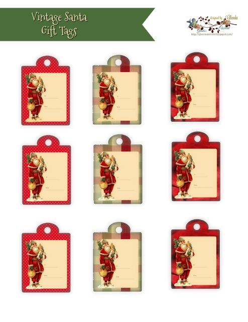 FREE from glenda's World : 2017 Christmas Designs *** Vintage Santa Gift Tags ***