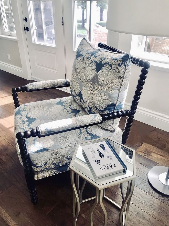 Spindle Chair Upholstered With Blue And White Robert Allen Fabric Upholstered Chairs Home Spindle Chair