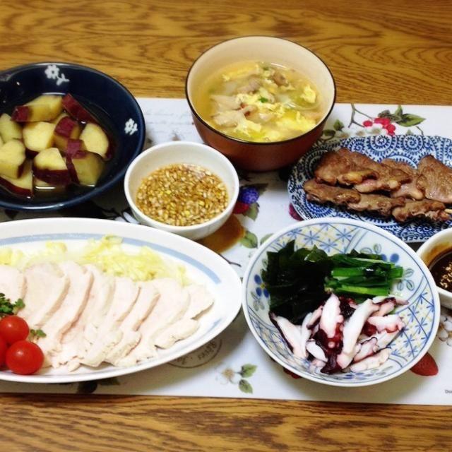 ぬたが気に入ったのでふたたび。 - 146件のもぐもぐ - サツマイモの煮物・具沢山スープ・心臓串・タコのぬた・茹で鶏(中華ソース) by madammay