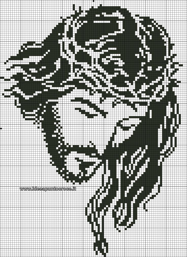 Gesù monocolore schema punto croce
