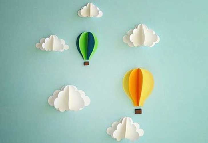 14-Paper-Hot-Air-Balloon-and-Clouds-Wall-art