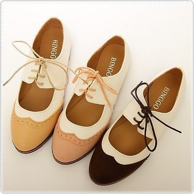 BN Womens Shoes Classics Dress Lace Ups Low Heels Oxfords Shoes Flats Pink Brown in Clothing, Shoes & Accessories, Women's Shoes, Flats & Oxfords   eBay