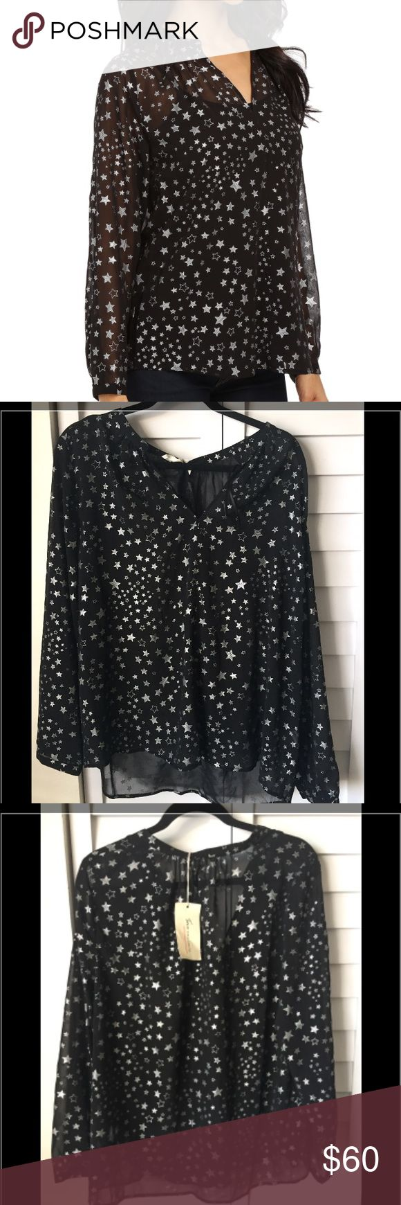 Vince black Star printed see through blouse Vince black Star printed see through blouse. Size large. New with tags Vince Tops Blouses