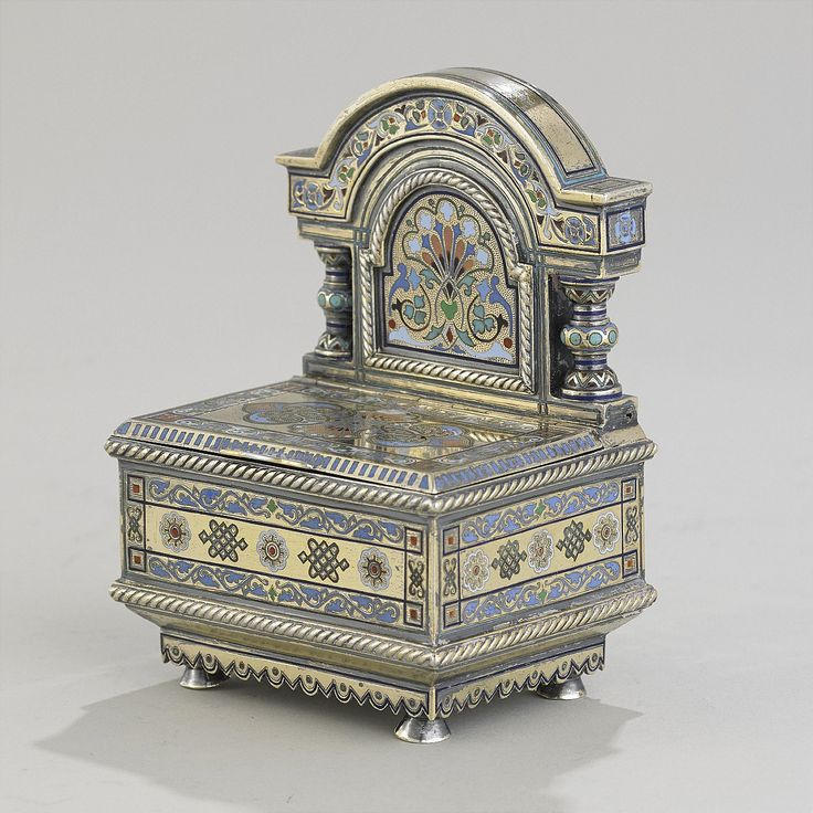 Salt chair silver enamel Moscow 1882