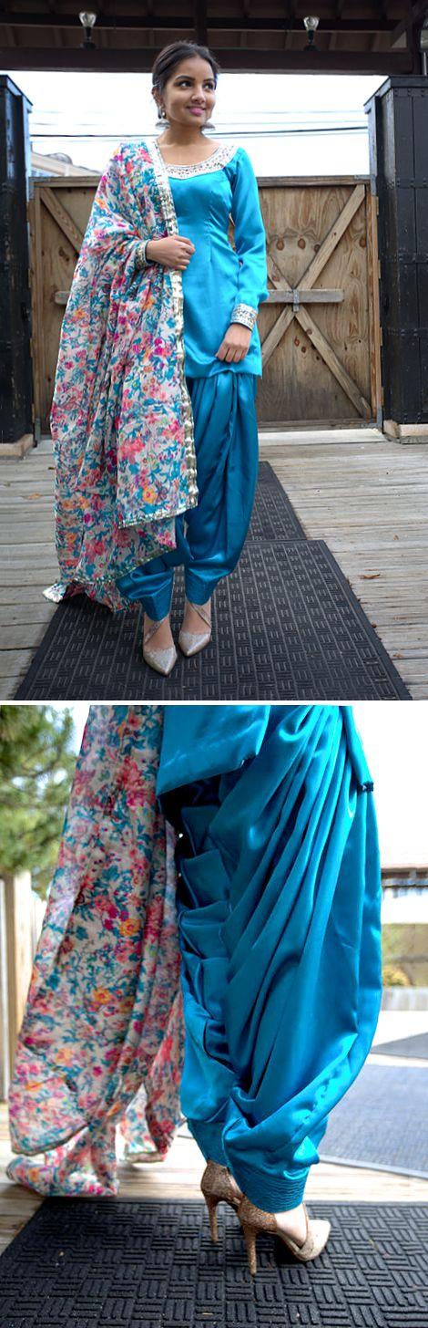 Crepe satin patiala salwar suit. Salwar made from 5 yards of fabric