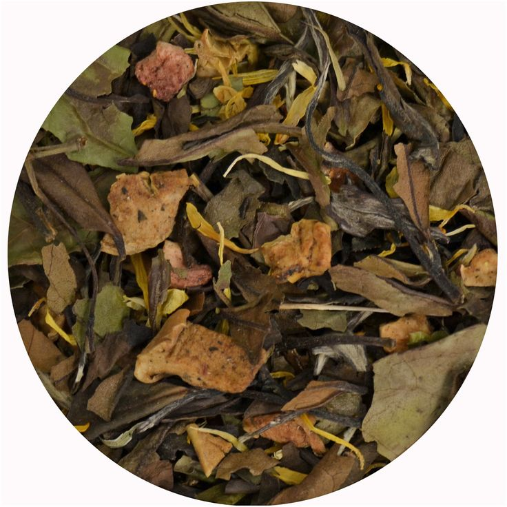 """""""Té Blanco Inspiración"""", té Blanco con trozos de fresa, manzana, aloe vera y caléndula. 12€/100gr."""