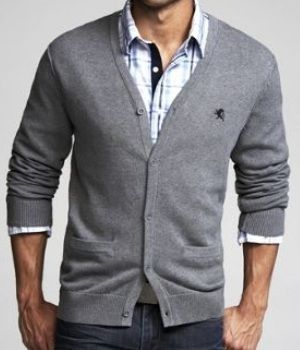 STYLE TIP - Invest in a CARDIGAN anywhere from gray to dark blue.  It goes well with a botton downed shirt and slacks for the office.  Leave the bottom two bottons open.  You can push up the sleeves 3/4 of the way up your arms or just leave the sleeves full length down.   Make sure that you get the right length where you can show off about 1/4 inch of your shirt cuffs. --- FOLLOW US ON PINTEREST for Style Tips, our current SALES, men's Wardrobe essentials etc... ~ VujuWear