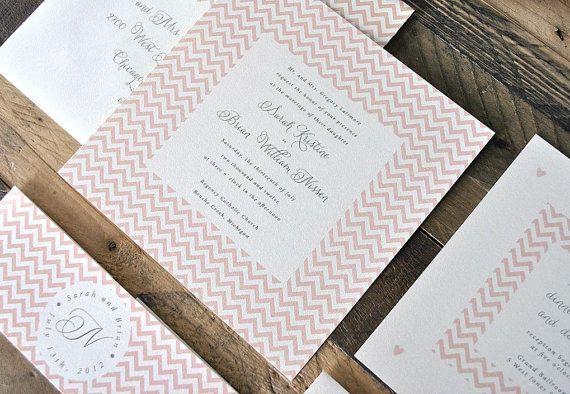 Tia Chevron Hochzeit Einladung Suite mit Bauchband von lvandy27