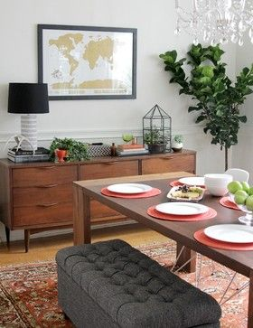 Bring in new houseplants. Fresh, living houseplants can do so much for a space. They bring in oxygen and add life, texture and sculptural shapes. Try that decorator favorite, the fiddle leaf fig, in a big basket cachepot, succulents in a terrarium and small potted plants on a console table.