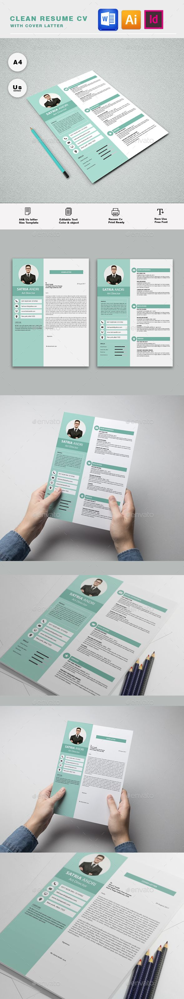 Resume Template InDesign INDD, AI Illustrator, MS Word - A4 & US Letter Size