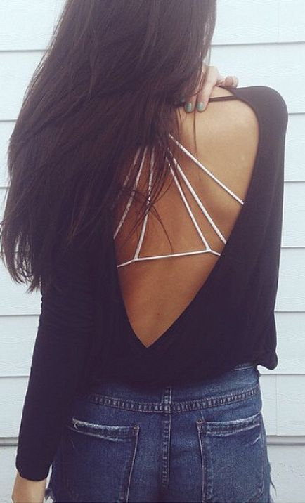 White bralette back, open back sweater