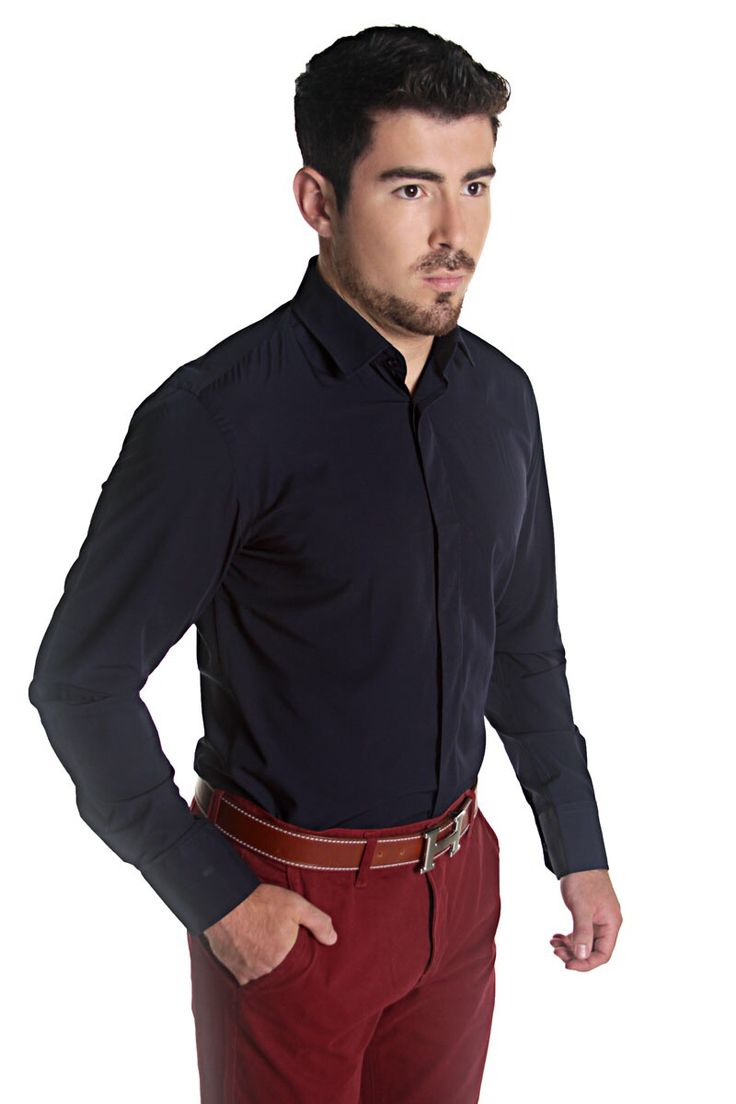 Bamboo fabric shirt navy colour