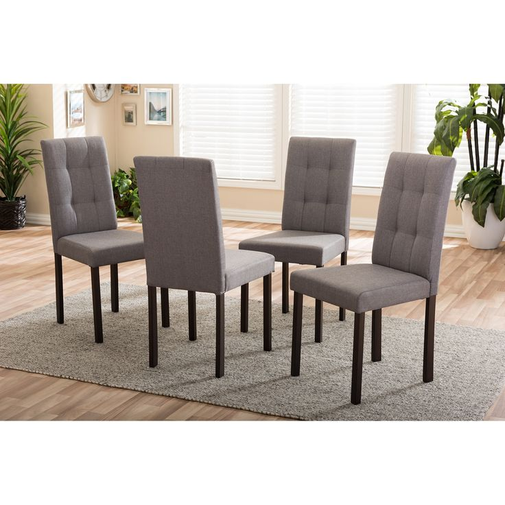 Baxton Studio Andrew Modern And Contemporary 4 Piece Grey Fabric Upholstered  Grid Tufting Dining