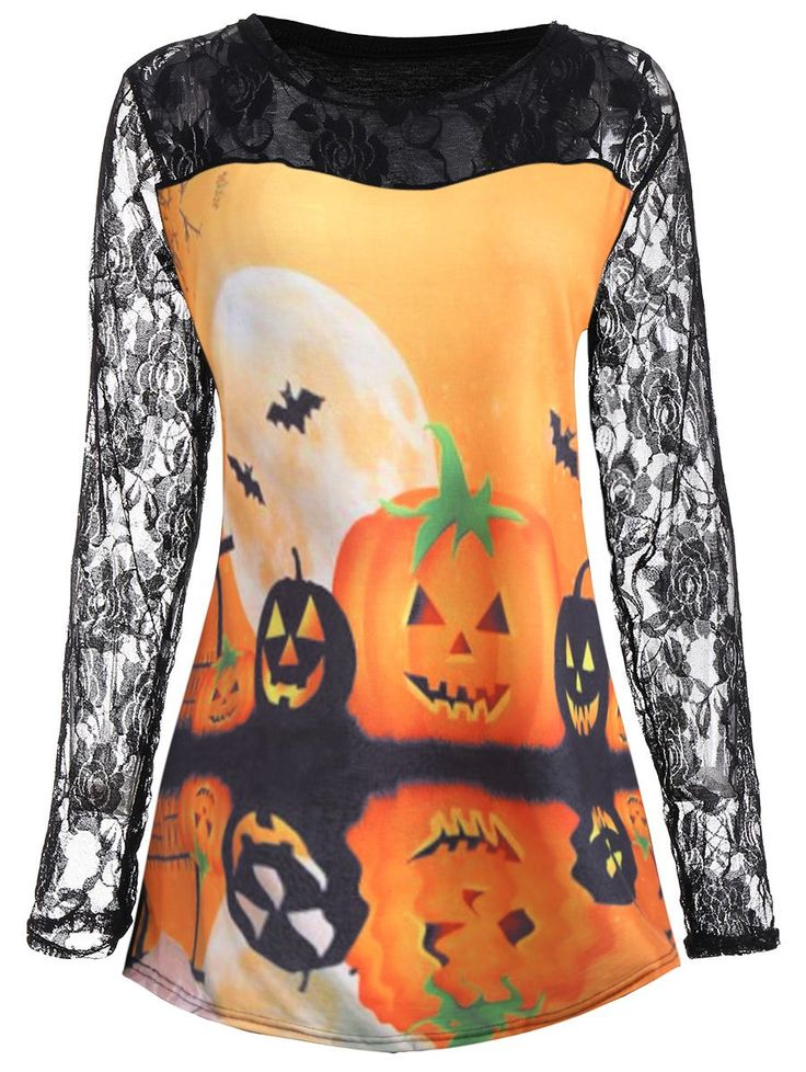 Plus Size Halloween Pumpkin Moon Lace Insert T-Shirt - ORANGE 2XL