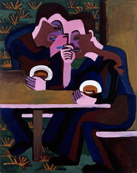 Eaters - Ernst Ludwig Kirchner (1930) Le corps est décomposé en plusieurs zones synthétisées, adoptant chacune une couleur. Cette codification lie certaines parties des deux personnages de la peinture: les deux fronts sont liés, ils sont composés d'une même forme et d'une même couleur.