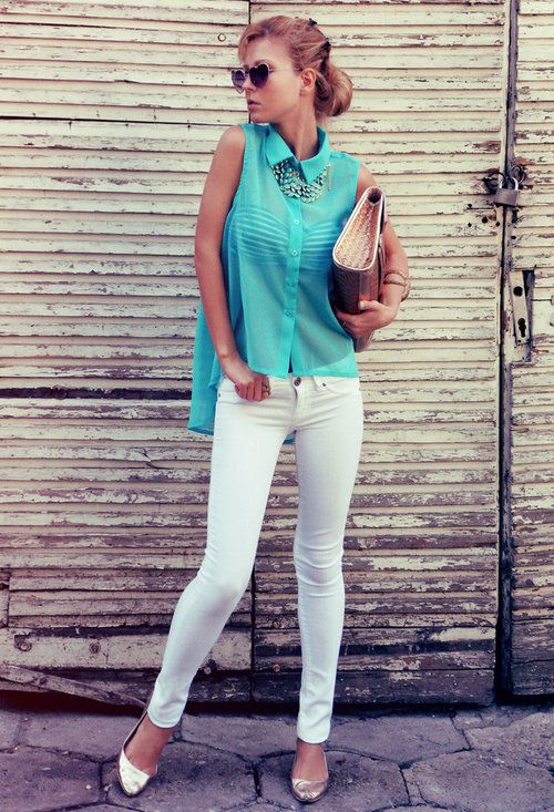 breezy turquoise  , Calliope en Camisas / Blusas, Bershka en Jeans, New Yorker en Zapato plano, Stradivarius en Bustiers / Sujetadores, H en Otras joyas / Bisutería