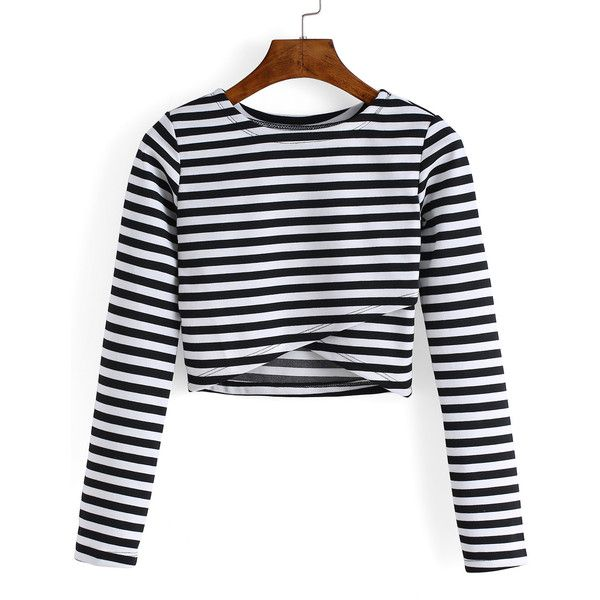 Round Neck Striped Cropped Tshirt ($8.90) ❤ liked on Polyvore featuring tops, t-shirts, black and white, crop top, striped long sleeve tee, cotton tee, striped long sleeve t shirt and black white striped t shirt