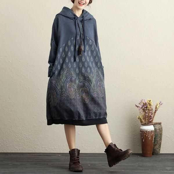 Hooded Long Sleeve Ethnic Women Printing Dark Blue Dress