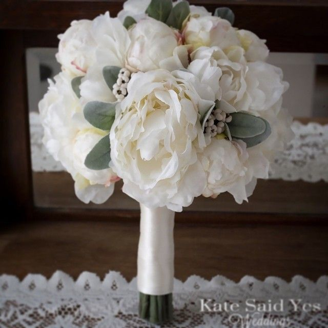 Lovely peonies accented with soft lamb's ear and white berries.  By Kate Said Yes Weddings    #wedding #weddingbouquet #silkbouquet #katesaidyesweddings #etsyweddingteam #bride #bridetobe #weddingday #proguidevendor #bridalbouquet #weddingplanning #foreverbouquet #engaged #shesaidyes #ido #love #peony #peonies #peonybouquet #weddings #peonywedding #whitewedding #lambsear #romantic