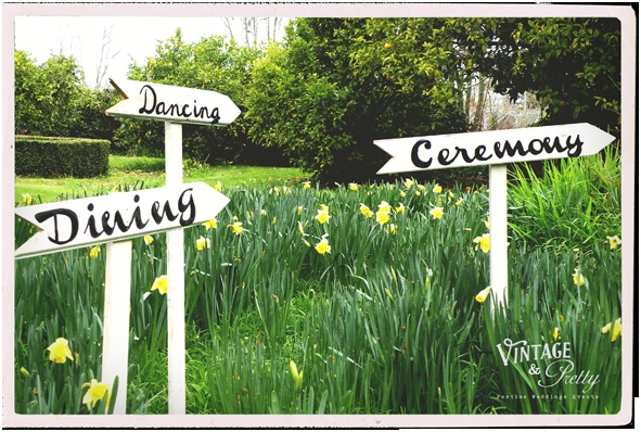 Vintage & Pretty whimsical wedding signs.