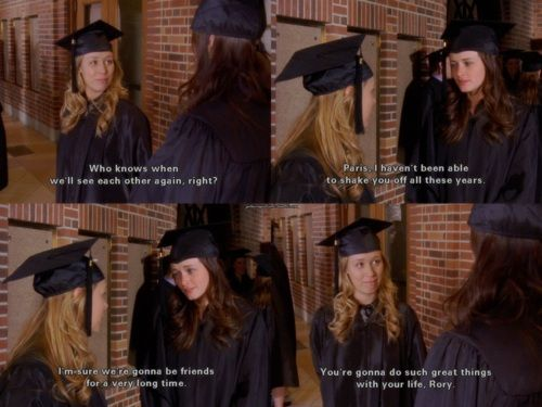 Rory and Paris, graduating from Yale