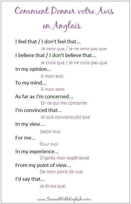 comment donner votre avis en anglais