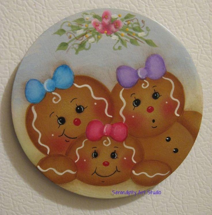 HP GINGERBREAD FRIDGE MAGNET BEST FRIENDS THREE LITTLE GIRLS