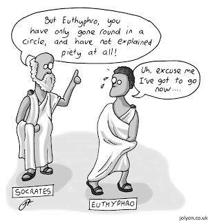 "he Euthyphro dilemma rests on a modernised version of the question asked by Socrates in the Euthyphro: ""Are morally good acts willed by God because they are morally good, or are they morally good because they are willed by God"