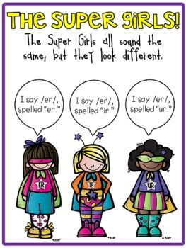 Super Girls to the Rescue {R-Controlled Vowels Er, Ir, and Ur}