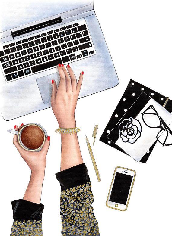 Instant download Fashion Illustration Fashion wall art Girl boss Fashion clipart Fashionista art Fashion watercolor Digital print