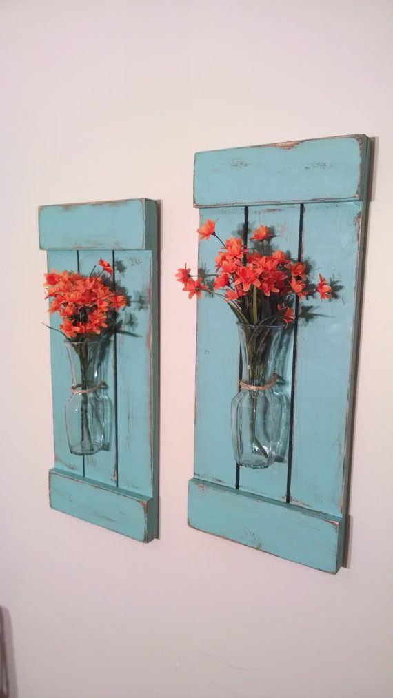 Large Rustic Sconces Shutters with Vase by CustomDesignsbyReed