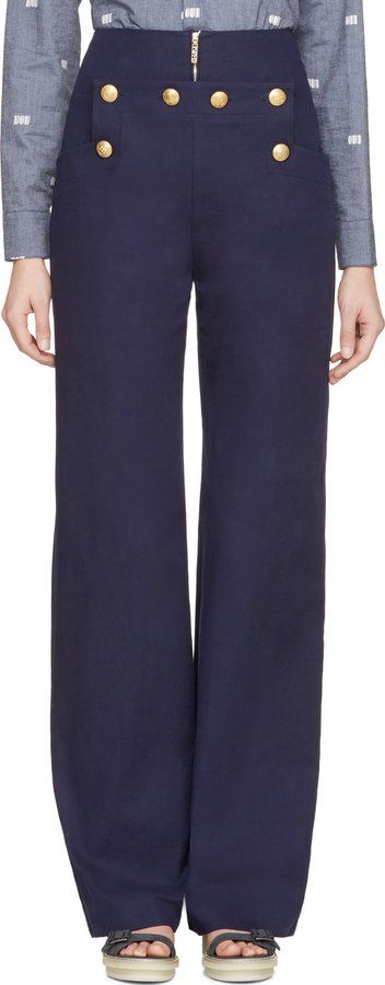 Pin for Later: Is Riviera Chic the Most Stylish Summer Look? Mais Oui Kenzo Navy High Waisted Nautical Trousers Kenzo Navy High Waisted Nautical Trousers (£313)