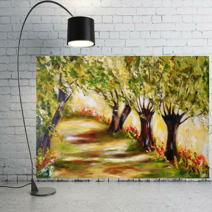 obraz olejny, malarstwo olejne, wierzby, aleja , drzewa, pejzaz