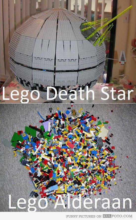 LEGO Death Star and Alderaan - Funny LEGO Star Wars joke with Death Star and Alderaan being just a pile of LEGO blocks.