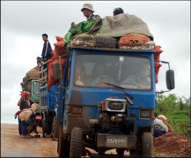 The road to Pindaya on the Shan Plateau, Burma, (Myanmar) - 'Cabbages and Caves'