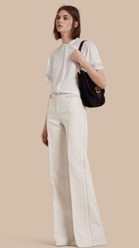 Wool Silk Wide Leg Trousers
