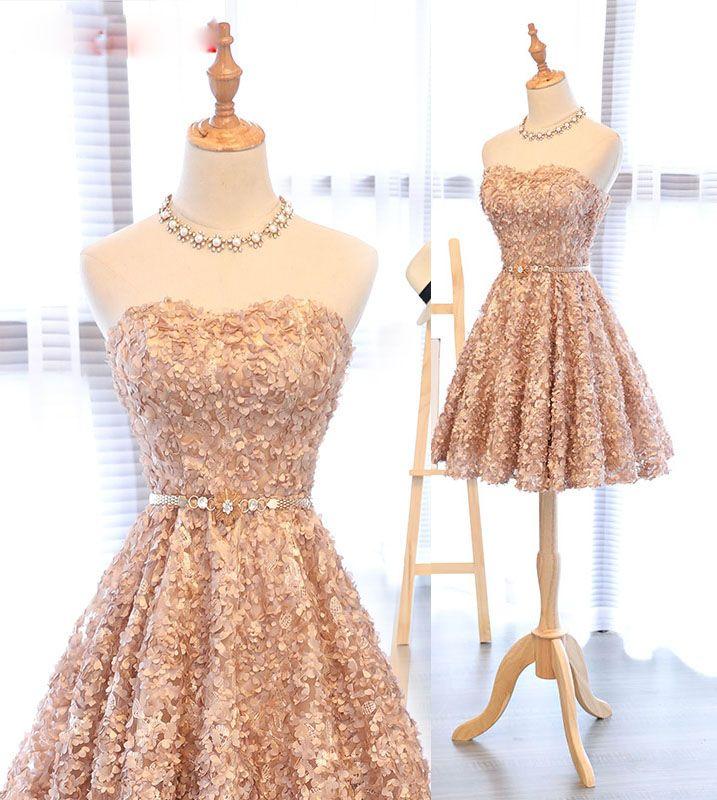 Gold Strapless Short Knee-Length Homecoming Dress,Applique Junior School