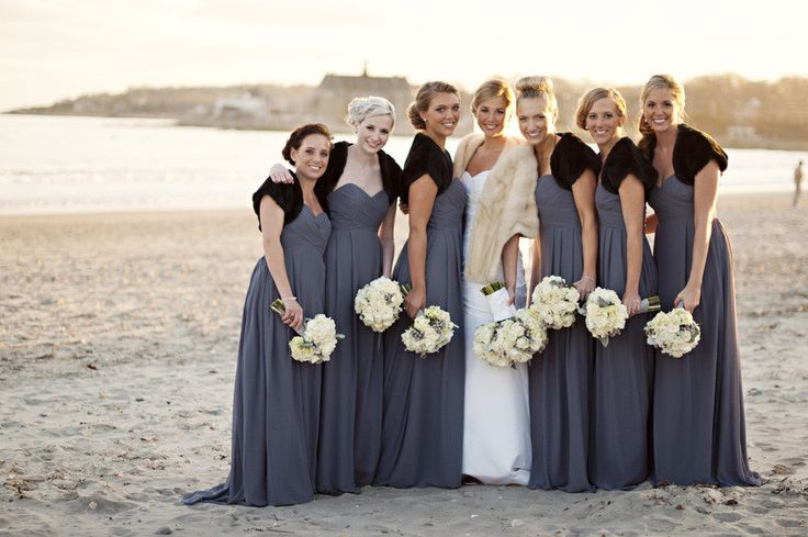 Bridesmaids in gray bill levkoff gowns and black faux fur for Winter wedding colors for bridesmaids dresses