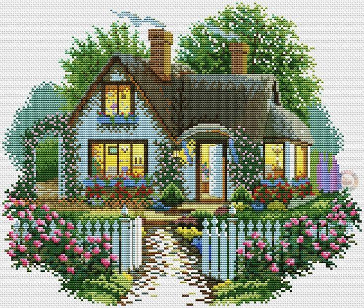 Картинки домов вышивка крестом