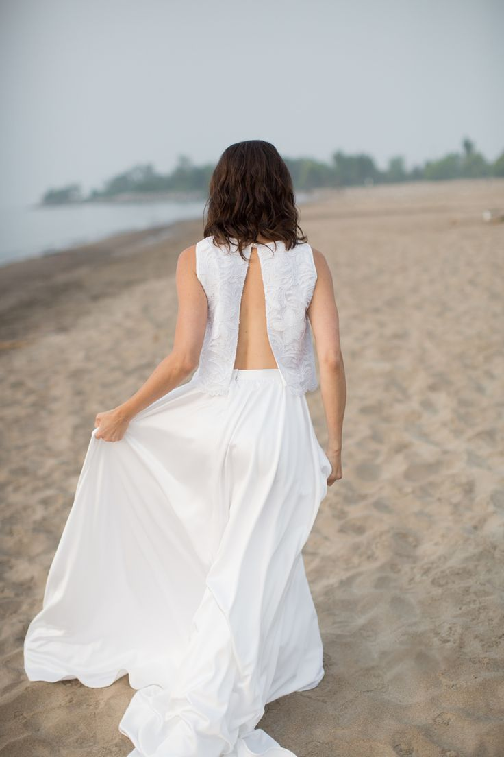Two piece open back wedding dress // & FOR LOVE