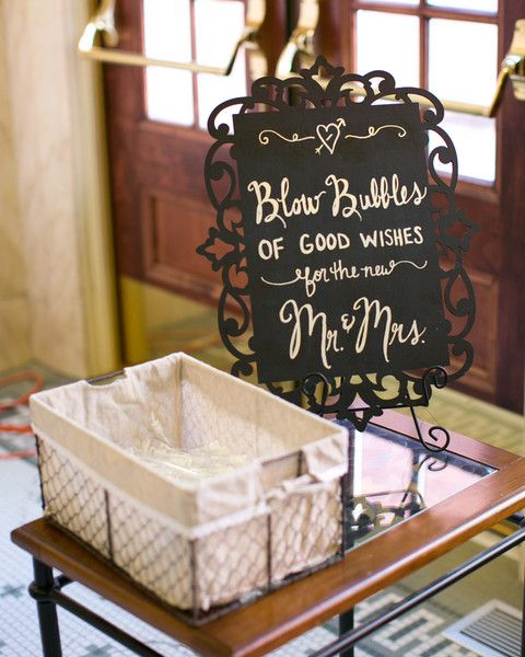 "Wedding ceremony chalkboard sign idea - ""Blow bubbles of good wishes for the new Mr. & Mrs."" {Cadey Reisner Weddings}"