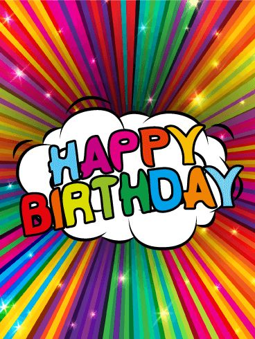 Colorful Rainbow Happy Birthday Card. This glitzy birthday card boasts a sparkling rainbow that will mesmerize the receiver with its bold, burst of colors. If you want zesty, if you want flashy, if you want to send a birthday card that really rocks - this is for you!