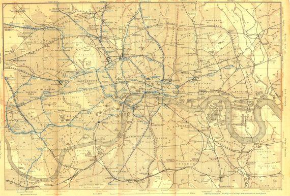 1907 London Vintage City Map Original Street by CarambasVintage, $40.00