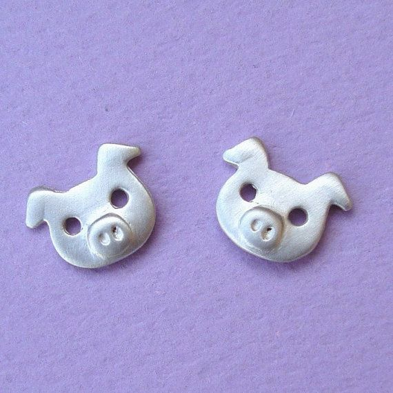 Pig Earrings Studs in sterling silver by zoozjewelry on Etsy, $30.00