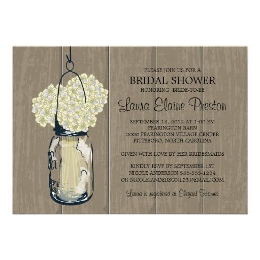 Bridal Shower Barn Wood Mason Jar Hydrangeas Card