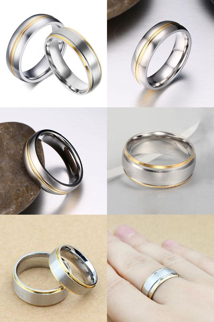 [visit To Buy] Goldcolor Titanium Rings 316l Stainless Steel Rings For Men