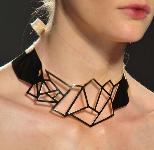 Loving the abstract edges on this bibhu necklace, mirroring the...