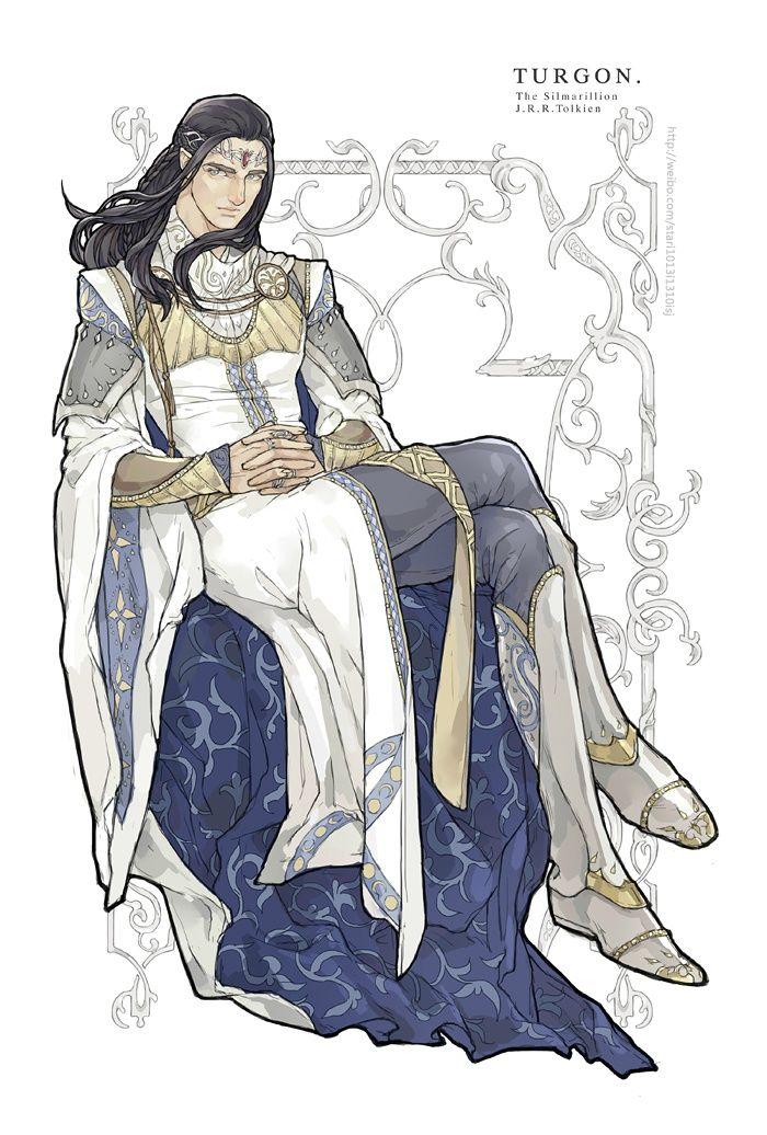 Turgon: Llamado el Sabio, el segundo hijo de Fingolfin, hermano de Fingon y Aredhel y padre de Idril, fue un elfo noldorin que vivió en Vinyamar en Nevrast antes de partir en secreto a Gondolin, que gobernó hasta su muerte en el saqueo de la ciudad.