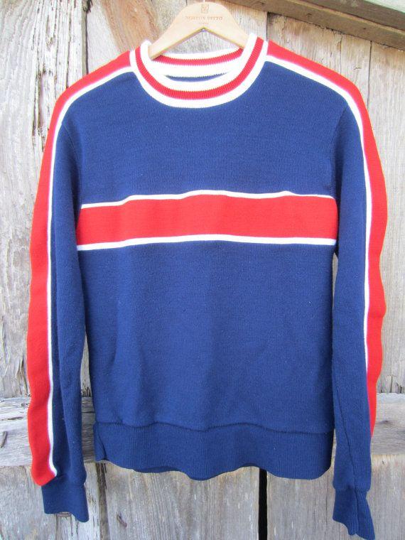 70s Red and Blue Ski Sweater, Men's S-M Women's M-L // Striped Knit Sweater // Vintage Winter Jumper